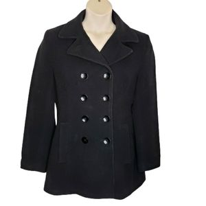 Calvin Klein Medium Black Wool Pea Coat